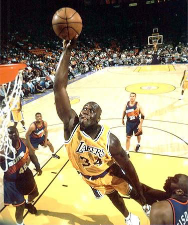 Shaquille O'neal Los Angeles Lakers Dunks on the Suns