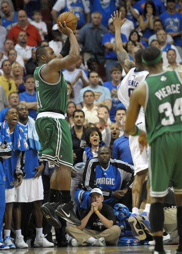 Glen Davis Hitting Winning Jumper for the Boston Celtics as Paul Pierce watches