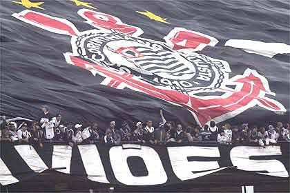 Corinthians Fans with Flag and Logo