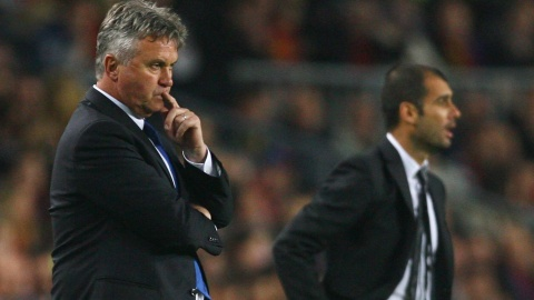Guus Hiddink and Josep Guardiola (right)