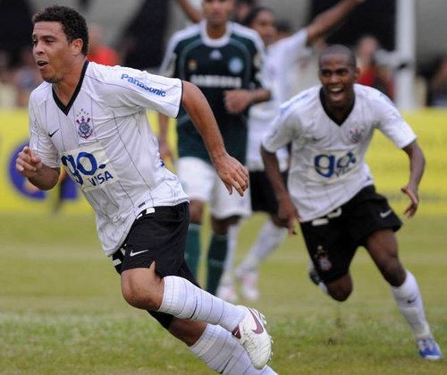 Ronaldo after a goal for Corinthians