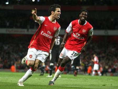 Francesc Fabregas and Emmanuel Adebayor