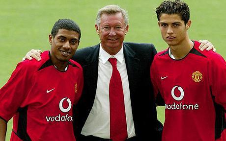 Kleberson, Alex Ferguson and Cristiano Ronaldo