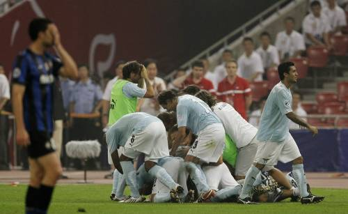 Lazio players celebrating