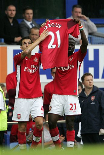 Cesc Fabergas and Emmanuel Eboue