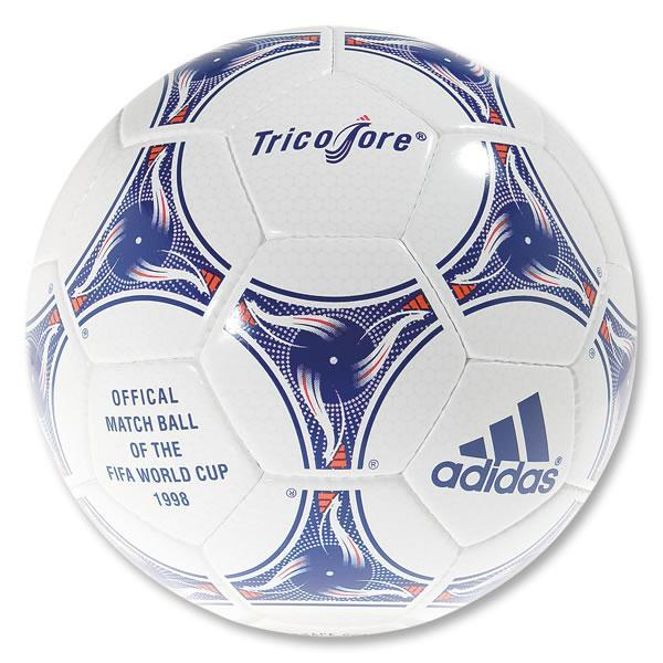 world cup 1998 ball. The Tricolore ball was the first ever to use colour in its design.