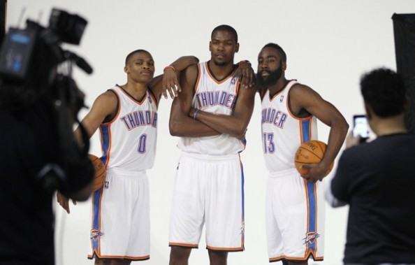Durant Harden Westbrook e1332859032191 Who Has the Better Big Three   The Oklahoma City Thunder or The Miami Heat