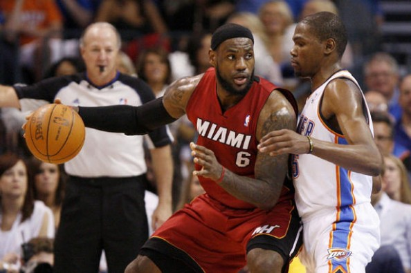 Durant LeBron e1332858871980 Who Has the Better Big Three   The Oklahoma City Thunder or The Miami Heat