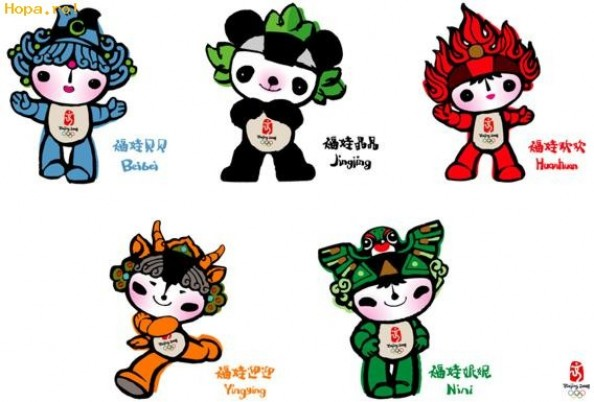 Beijing 2008 Mascots e1335183846722 The History of the Olympic Mascots