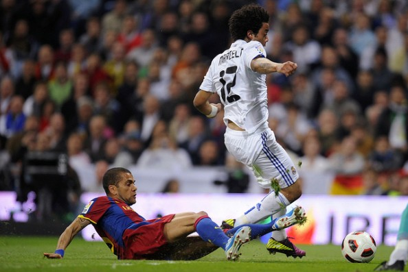 Dani Alves Marcelo e1335000281885 Barcelona vs Real Madrid   All the Clasico Matches During the Guardiola & Mourinho Era