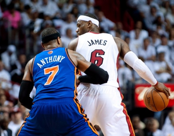 LeBron Carmelo e1335706790418 LeBron James at His Best No Match For Weak Knicks