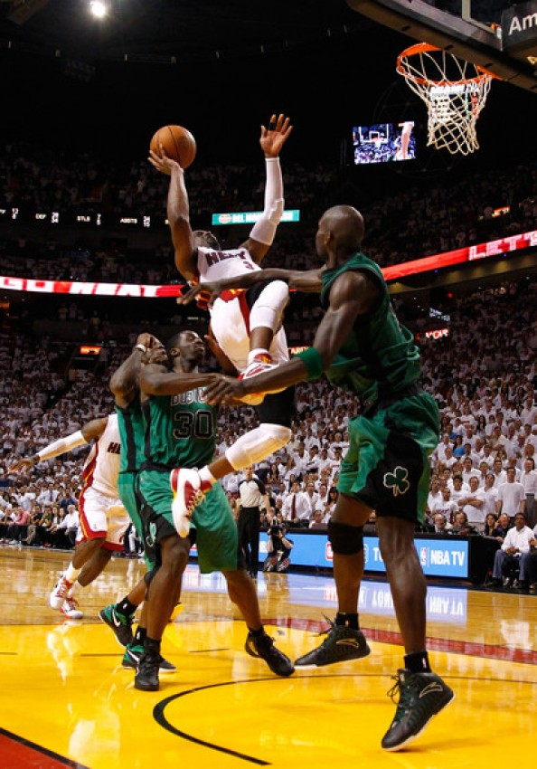 Wade Kick Garnett e1338473088853 Boston Celtics Lost the Game   Referees Didnt Give it to Miami Heat