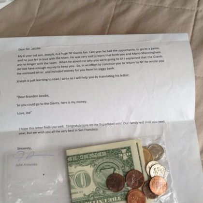 Brandon Jacobs letter Brandon Jacobs Gets Money From 6 Year Old Giants Fan