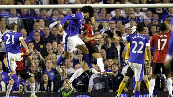 Marouane Fellaini e1345497076180 Marouane Fellaini Ruins Robin van Persie Debut (Everton vs Manchester United)