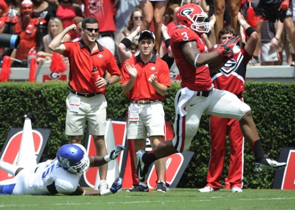 Georgia touchdown e1347094409273 2012 College Football Season   Week 2 Predictions