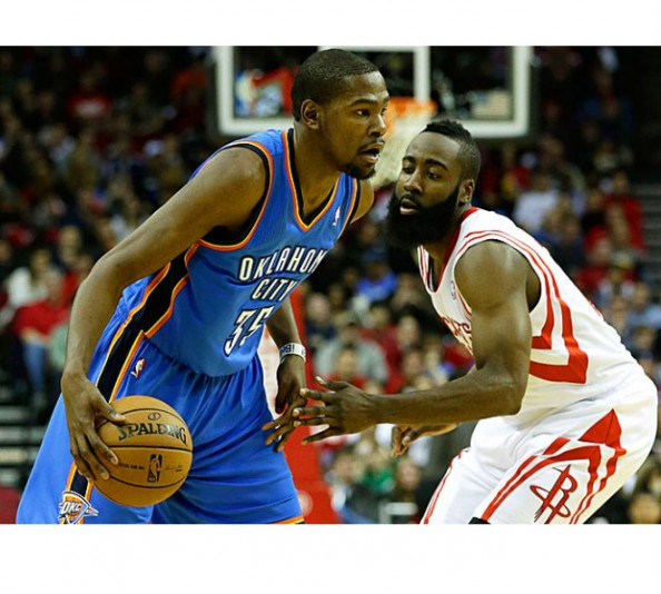 Durant Harden2 e1356873086368 Oklahoma City Thunder   Kevin Durant & Russell Westbrook Love Playing James Harden