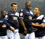 Millwall's Danny Shittu after his goal against Aston Villa