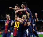 Barcelona players celebrating
