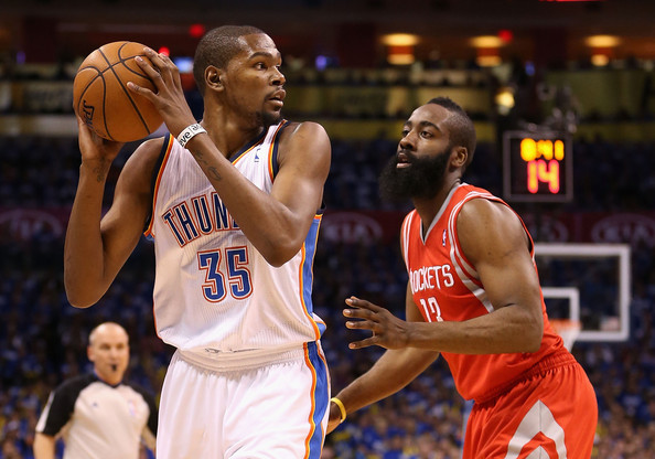James Harden guarding Kevin Durant
