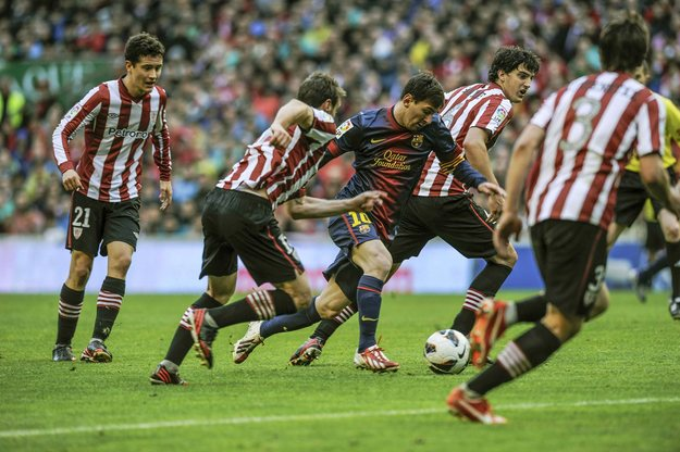 Lionel Messi making his way through Athletic Bilbao defenders, en route to a wonder goal