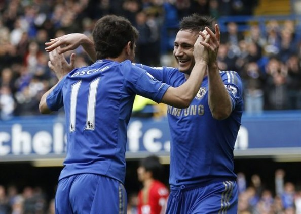 Oscar Lampard e1367217869174 Chelsea FC   Eden Hazard, Juan Mata & Oscar Make Frank Lampard Look Good