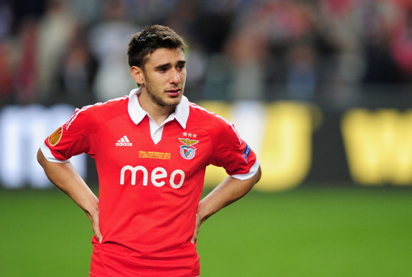 Eduardo Salvio of Benfica is trying to hold back the tears, but they probably came streaming out in the dressing room