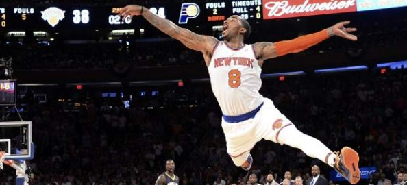 J.R. Smith gets pushed from behind while taking a shot, so he gets to show his ballet skills