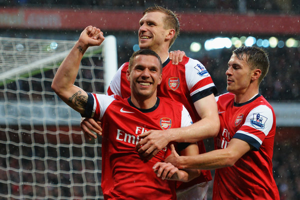 With his brace against Wigan, Lukas Podolski has now scored 11 league goals for Arsenal on his debut season.