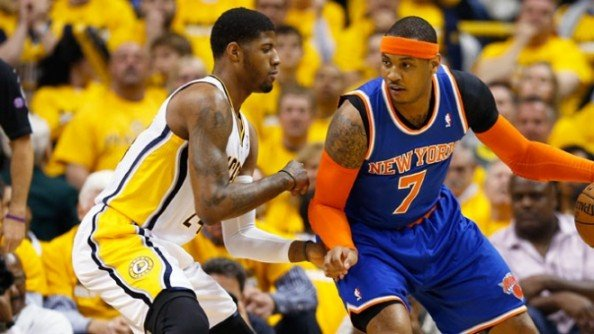 Carmelo Anthony now 31.6% from the field during the series when it's Paul George that's guarding him, while shooting 55.6% from the field when others are keeping tabs on him.