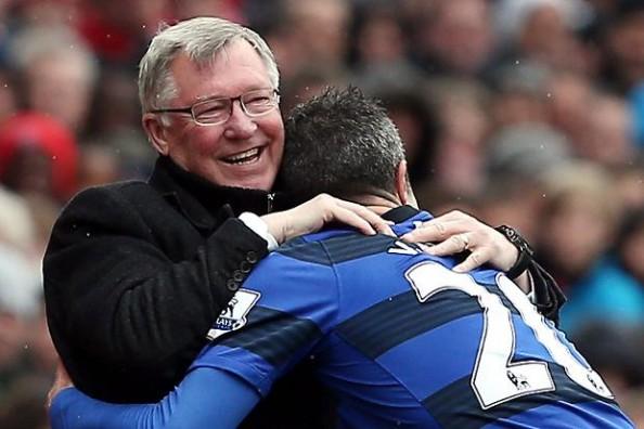 Van Persie hugging Ferguson