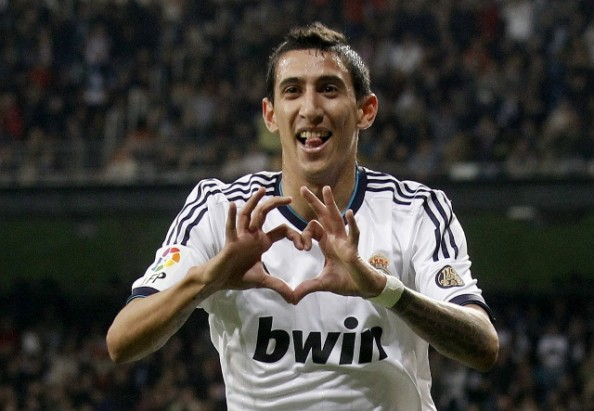 Real Madrid's Di Maria celebrates goal against Real Zaragoza during Spanish First Division soccer match in Madrid