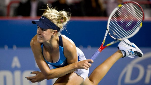 Bouchard Serve e1372329380254 Eugenie Bouchard, The New Sexiest Tennis Player