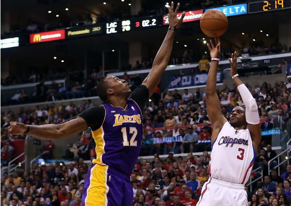 Dwight Howard blocking Chris Paul