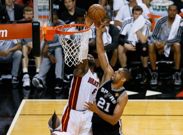 LeBron James Blocking Tim Duncan