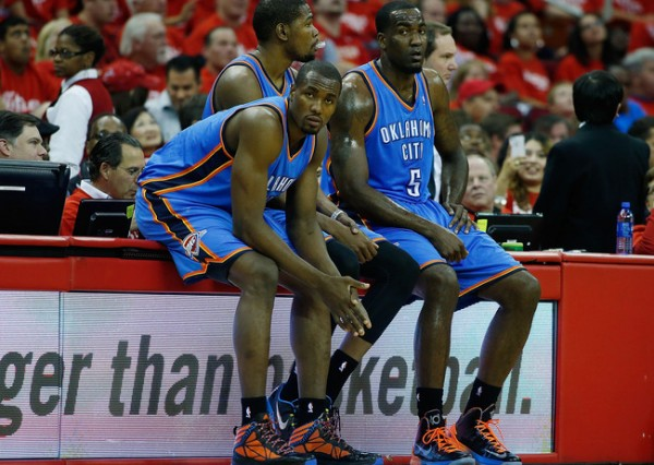Durant Ibaka Perkins e1374239621756 Oklahoma City Thunder   Kevin Durant & Russell Westbrook Cant Become NBA Champions Like This