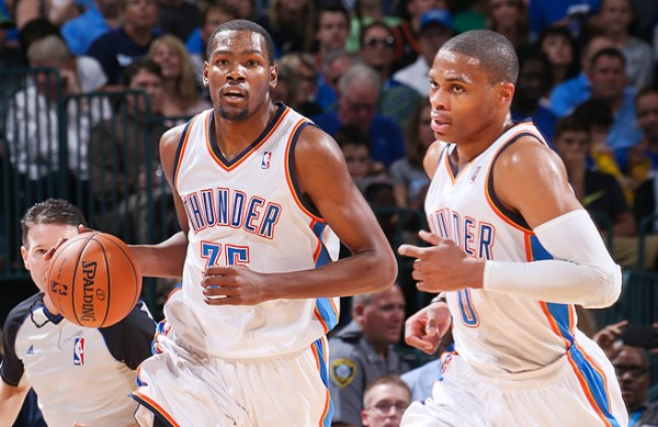 Kevin Durant Russell Westbrook e1374239506324 Oklahoma City Thunder   Kevin Durant & Russell Westbrook Cant Become NBA Champions Like This