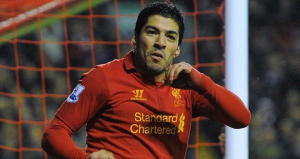 Luis Suarez scoring for Liverpool