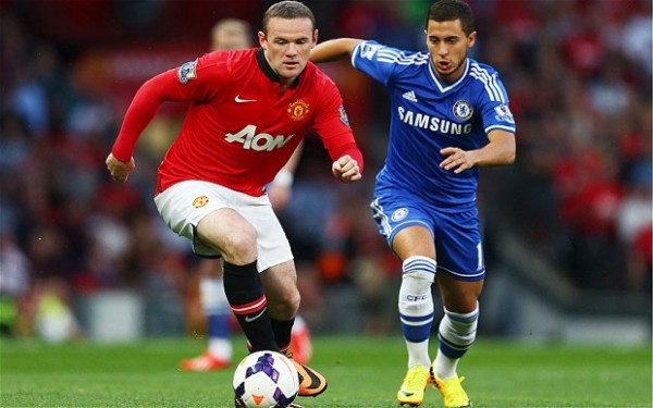 Eden Hazard Wayne Rooney e1377588622349 Chelsea FC   Eden Hazard Continues to be Suffocated by Tactics