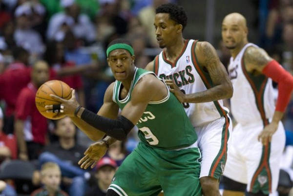 Rajon Rondo Brandon Jennings e1375703919888 NBA Rumors   Detroit Pistons Still Trying to Trade for Rajon Rondo