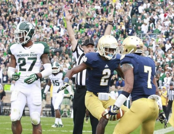 Notre Dame Celebrating Touchdown