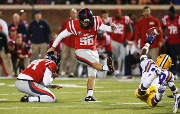 Andrew Ritter scored a 41-yard field goal to give Ole Miss a 27-24 win over #6 ranked LSU.
