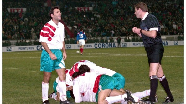 Bulgarian players celebrating their win over France in the 1994 World Cup qualifiers