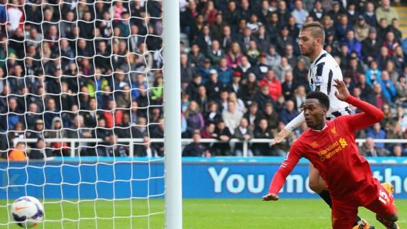 Daniel Sturridge scoring his 8th goal of the season