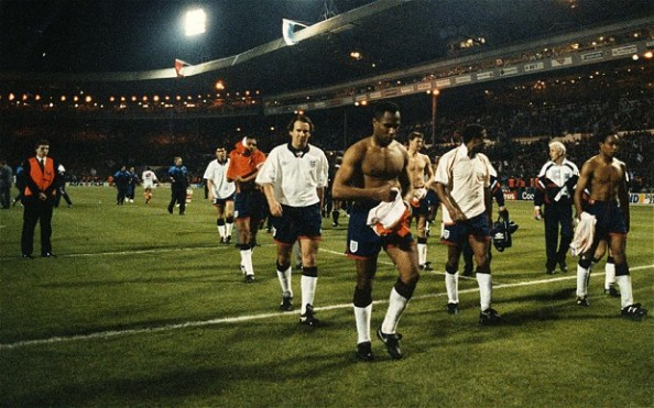England players in the 1994 World Cup qualifiers, letting a 2-0 home lead against the Netherlands slip away