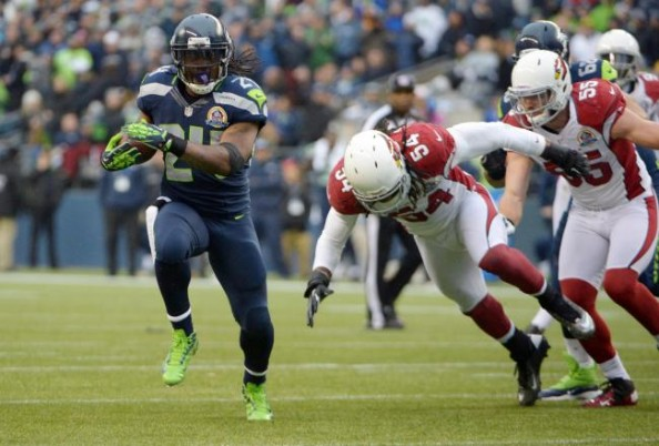 Marshawn Lynch ran for 128 yards and three TDs on 11 attempts in the 58-0 win by the Seahawks over the Cardinals last season