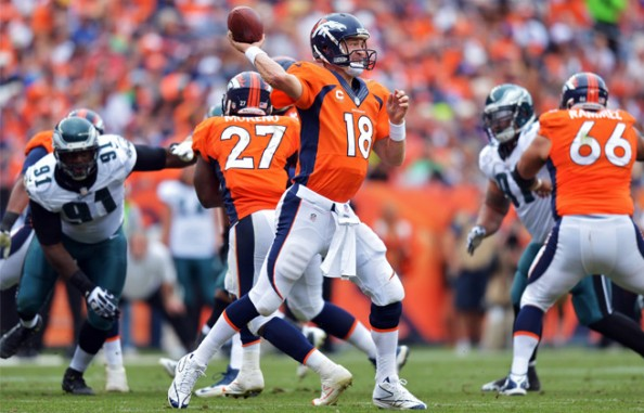 Through the first six games of the season, Peyton Manning has thrown 22 touchdown passes and only two interceptions.