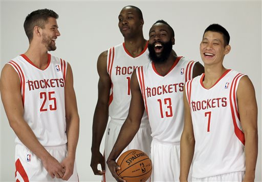 Chandler Parsons, Dwight Howard, James Harden,  Jeremy Lin