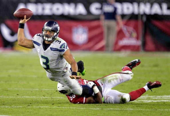 Russell Wilson completed 62% of his passes, 3 of them going for touchdowns in a 34-22 win for the Seattle Seahawks over the Arizona Cardinals