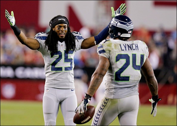 Marshawn Lynch celebrating his fourth touchdown of the season. He also ran for 91 yards.