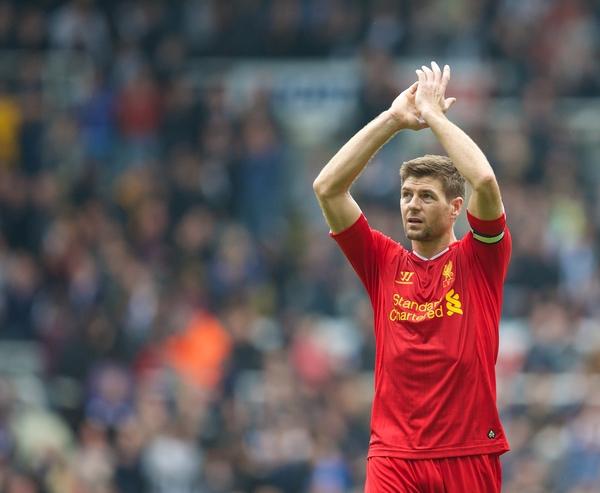 Steven Gerrard scored his 100th Premier League in the 2-2 draw.